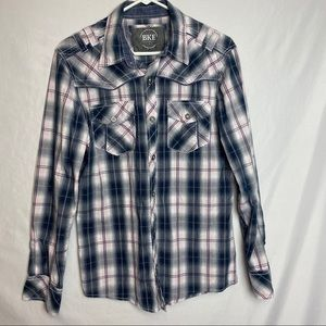 BKE Plaid Pink and Blue Women's Shirt size M